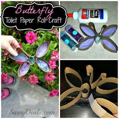 DIY: Butterfly Toilet Paper Roll Craft For Kids - could make a water proof version using slices of plastic pipe?