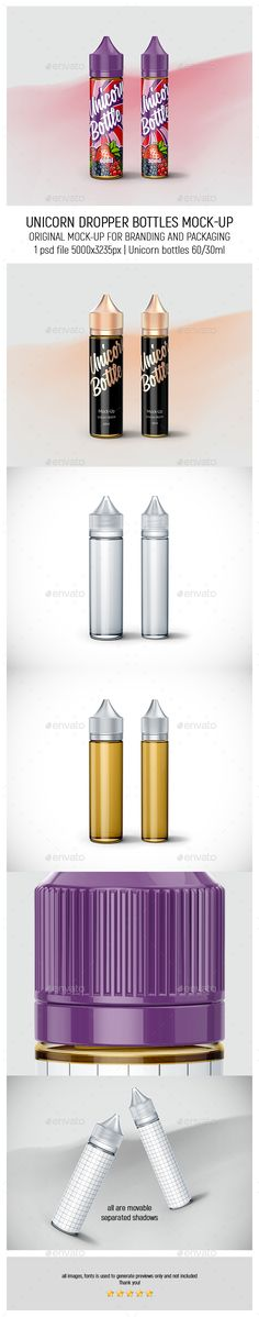 Unicorn Dropper Bottles 60ml-30ml Mock-up - Miscellaneous Packaging