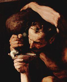 Jusepe de Ribera, drunken silenus, 1629 detail