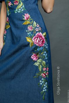 blue denim dress with rose embroidery by Olga Streltsova