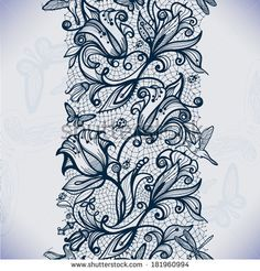 Abstract seamless lace pattern with flowers and butterflies. Infinitely wallpaper, decoration for your design