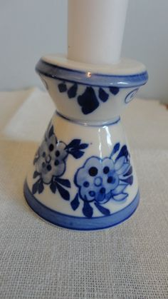Vintage Delft Blue Candle Holder Dutch Windmill