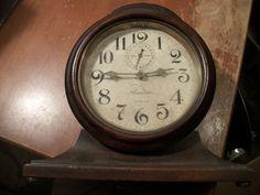 Ansonia Eight Day Radium Alarm Clock Wooden Case by SteamPunkDaddy, $50.00