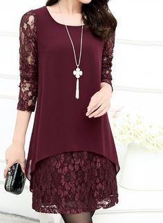 Patchwork Hollow Out Solid Chiffon Lace Shift Dress is hot sale on ByChicStyle, come to ByChicStyle to see more trendy Shift Dresses online. Tight Dresses, Cute Dresses, Casual Dresses, Fashion Dresses, Shift Dresses, Office Dresses, Cheap Dresses, Party Dresses, Long Dresses