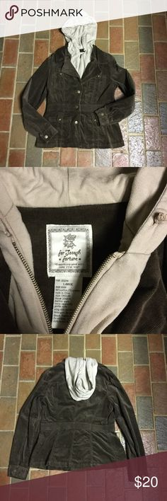 FOR JOSEPH FORTUNE CORDUROY JACKET This light weight jacket is all you need for the FALL, used but in great condition.  Worn like 5x.  Jacket has bronze colored buttons and a attached inner faux jacket with a attached hood. Great with a pair of jeans and riding boots. For Joseph Fortune Jackets & Coats