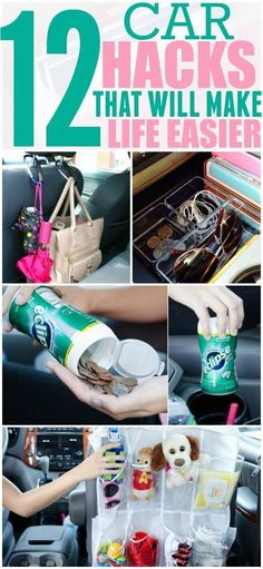 diy car accessories Keeping your car organized and free of clutter can help you focus on driving. Implement these hacks in your car today and thank yourself later. Pinning for later! Organisation Hacks, Household Organization, Minivan Organization, Organizing Ideas, Organization Station, Car Cleaning Hacks, Car Hacks, Organizer Auto, Car Organizers