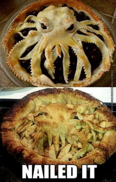 16 Horrific Halloween Baking Fails – So Funny Epic Fails Pictures Vida Cruel, Chefs, Octopus Pie, Baking Fails, Fail Nails, Food Fails, Mini Pizza, Halloween Baking, Expectation Vs Reality