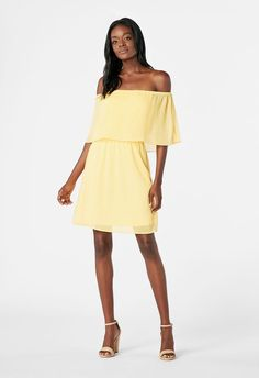 8db57f7b7f0 Chiffon Off Shoulder Dress