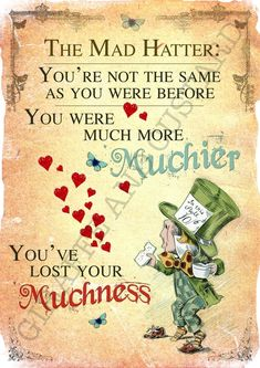 Alice in Wonderland Printable Poster Art - Mad Hatter Tea Party Lost Yourself - Bilder, Poster, Malerei - Movies Alice And Wonderland Quotes, Alice In Wonderland Tea Party, Adventures In Wonderland, Alice In Wonderland Tattoo Sleeve, Alice In Wonderland Printables, Alice In Wonderland Clipart, Alice In Wonderland Pictures, Alison Wonderland, Printable Poster