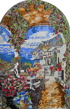 Natural Sea View Arched Mosaic Marble Tuscan Mural Decorative | by Mozaico