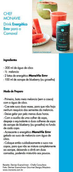 Receita de um drink super refrescante usando o energético MonaVie Emv. Mais informações no site www.monavie.com.br