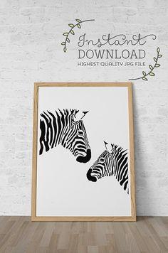 Printable Art- Black and White Zebra Print - Nursery Art Printable - Modern Home Decor DIY Instant Download on Etsy, $5.45 AUD