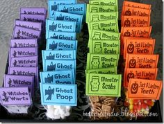 Halloween treat bags for Em's classroom...so stinking cute! halloween treat bags, chocolate chips, cinnamon, candy corn, candies, halloween treats for classroom, jack o lanterns, parti, kid