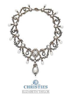 Elizabeth Taylor's Antique natural pearl and diamond necklace - circa 1860