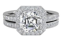 Halo Micropavé Diamond Band Engagement Ring with matching band - in Platinum (0.52 CTW)