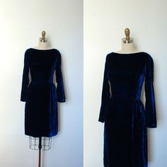 Vintage 1960s Dress / 60s Blue Velvet Dress / by lapoubellevintage