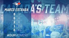 Marco Estrada pitched a gem in Game 1 of the ALCS, a loss. Toronto Blue Jays. Cleveland Indians. 2016 Postseason. MLB. Baseball. Canada. #OurMoment
