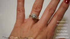 CZ Wedding Ring Set - 2 Carat Cubic Zirconia Engagement Ring Solitaire & 2mm 925 Sterling Silver Wedding Band