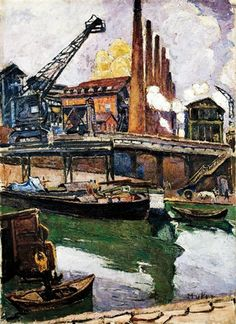 Maria-Mela Muter - Industrial Landscape/Portrait of a Woman (Double Sided Painting)