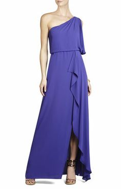 Bridesmaid Dress: One-Shoulder Ruffled Evening Gown in Persian Blue. $105 (reg$298)