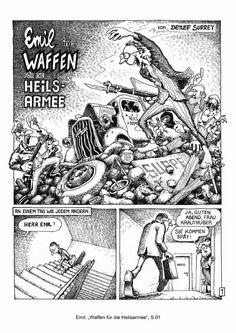 """Emil - Waffen für die Heilsarmee"", ""Arms for the salvaton army"" Comic story, IRRWITZ Comics, Weismann Verlag, 1983 @ Detlef Surrey -http://issuu.com/emilcomics/docs/emil-waffen_comic-1983"