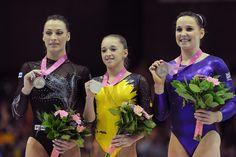 The Floor podium at the 2012 European Gymnastics Championships. Silver Cătălina Ponor – Romania Gold:  Larisa Iordache – Romania Bronze: Hannah Whelan – Great Britain