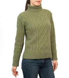 Green Lambswool Chunky Cable Polo Neck Jumper for Women