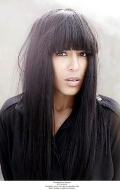 Loreen, Swedish winner of the Eurovision Song Contest I love her dark hair and her fringe. Dark Hair, Red Hair, Brown Eyed Girls, Brunette Girl, Gorgeous Women, Beautiful, Celebs, Celebrities, Cut And Style