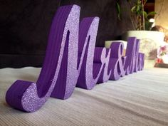 Dark Purple Wedding Mr & Mrs Wedding Signs Table Decoration Sweetheart table decor Wedding Centerpieces - Not painted, Painted, Glittered Purple Table Decorations, Purple Wedding Centerpieces, Silver Centerpiece, Centerpiece Ideas, Purple Wedding Receptions, Table Centerpieces, Wedding Themes, Wedding Colors, Wedding Flowers