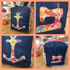 Fabric doorstop made from an old pair of jeans & Liberty scraps.