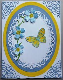 Beads and Glitter Blue Flowers  Materials Art Glitter - Blue Cherry Lynn - Lace Corner Deco F Elizabeth Craft - Bunch of Flowers 4 Poppy Stamps - Cheviot Butterfly, Delaney Butterfly & Climbing Vine Sakura Crystal Lacquer Spellbinders - Floral Oval Spellbinders - Grand Ovals Yellow Craft Beads