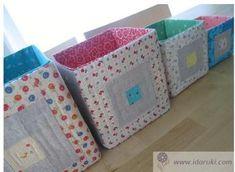 Яркие текстильные коробки для хранения вещей