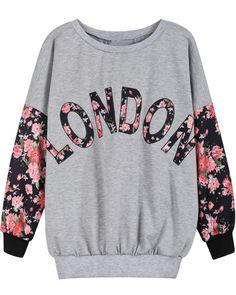 Grey Contrast Florals LONDON Print Sweatshirt