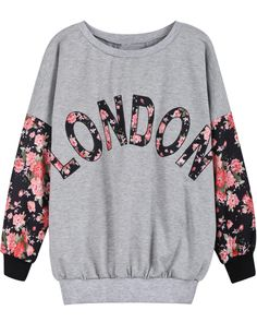 Sweat-shirt+à+imprimé+LONDON+avec+manche+floral+-Gris++EUR€16.53