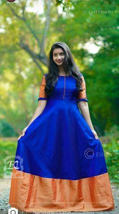 Kerala Saree Blouse Designs, Half Saree Designs, Kalamkari Dresses, Ikkat Dresses, Blouse Designs High Neck, Fancy Blouse Designs, Lehnga Dress, Saree Gown, Lehenga