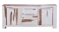 Sideboard Massivholz Sheesham White Wash Finish 150 x 45 x 90 cm 2 Türen 3 Schubläden