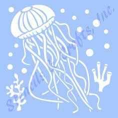5 JELLYFISH STENCIL OCEAN marine sea stencils by sunflower33
