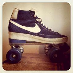 Official Nike High Top 'Blazer' Rollerskates 1970s by vanvoguevintage on Etsy https://www.etsy.com/listing/112943497/official-nike-high-top-blazer