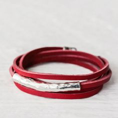Red Leather Wrap Bracelet in Karen Hill Tribe Silver with Bali Sterling Silver, Berry Cherry Bright Apple Red