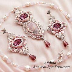 """Купить Комплект """"Жемчужина Ринальди"""" - розовый, персиковый, серебряный, белый, кулон, розовый кварц, Сваровски"""