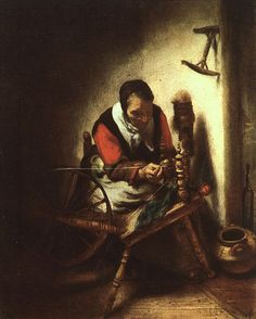 Nicolaes Maes (1634–1693, A Woman Spinning, circa 1655