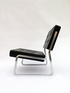 Paul Sumi; Chromed Metal and Leather lounge Chair for Sumi, 1965.