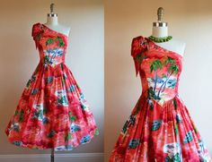1950s Dress - Vintage 50s Rayon Hawaiian Dress - One Shoulder Novelty Print Fire Red Sundress S - Tiki Torch and Surfers on Etsy, $600.00 CAD