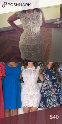 White Lace Dress Perfect for an event when you're the bride to be! Worn once, perfect condition AKIRA Dresses Mini