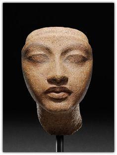 Head of Queen. New Kingdom - 18th dynasty, reign of Akhenaten, 1351-1334 B.C. | Staatliche Museen zu Berlin, Ägyptisches Museum und Papyrussammlung