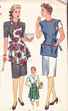 1930's Womens Aprons Vintage Sewing Pattern by Sutlerssundries