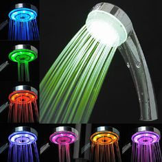 Luxury Bathroom LED Shower Head for Ambient Lighting in 7 Colors, No Battery Needed Bathroom Shower Heads, Led Shower Head, Shower Faucet, Bathroom Faucets, Shower Plumbing, Shower Rail, Bath Shower, Led Licht, Color Changing Led