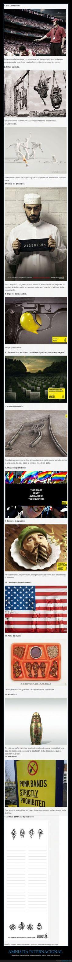 AMNISTÍA INTERNACIONAL - algunas de sus campañas más impactantes por los derechos humanos