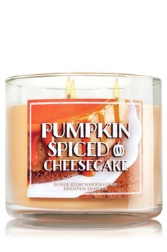 """Pumpkin Spiced Cheesecake - 3-Wick Candle - Home Fragrance - Bath & Body Works - The Perfect 3-Wick Candle! Made using the highest concentration of fragrance oils, an exclusive blend of vegetable wax and wicks that won't burn out, our candles melt consistently & evenly, radiating enough fragrance to fill an entire room. Topped with a decorative, pumpkin-inspired lid! Burns approximately 25 - 45 hours and measures 4"""" wide x 3 1/2"""" tall."""