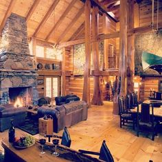 The Covert family home constructed by Hearthstone Log Homes of Dandridge, TN. Log Cabin Living, Log Cabin Kits, Log Cabin Homes, Log Cabins, Rustic Cabins, How To Build A Log Cabin, Log Home Interiors, Rustic Loft, Cabin In The Woods